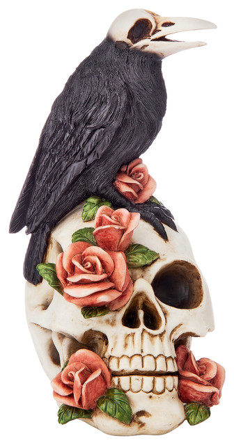 Raven And Roses Skull Statue