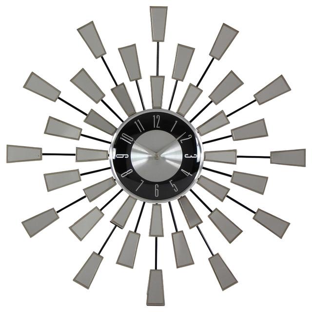Mirrored Wall Clock levi contemporary mirror wall clock - contemporary - wall clocks