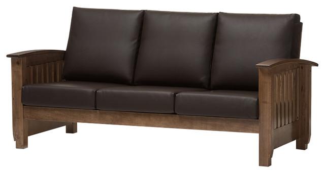 Charlotte Modern Classic Mission Style Sofa, Dark Brown, Walnut Brown