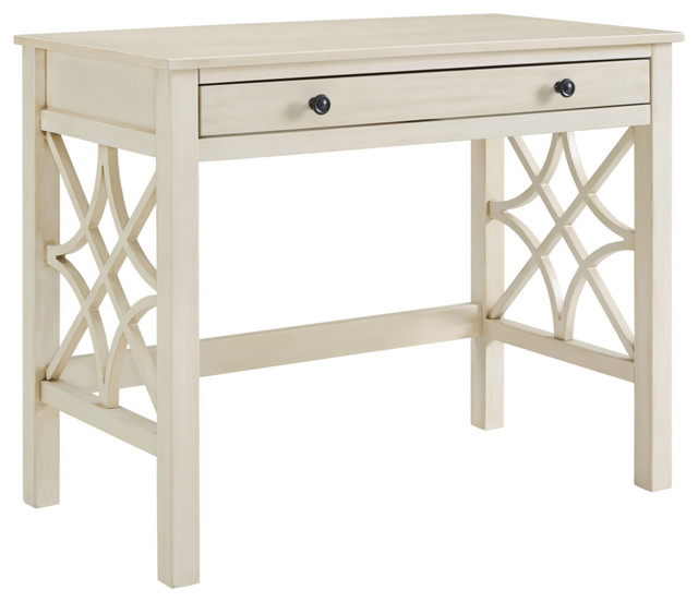MDF and Pine Wood Desk, Antique White - MDF And Pine Wood Desk, Antique White - Transitional - Desks And