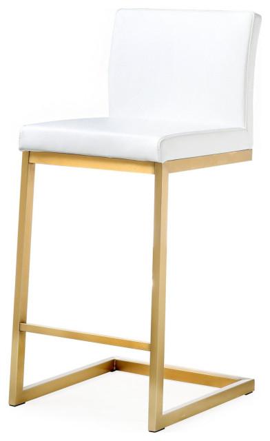 Pu White Leather Brushed Gold Glam