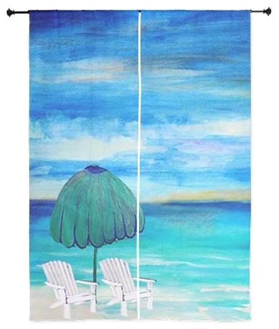 Beach Art Sheer Curtains, Sea Breeze Beach Beach Style Curtains