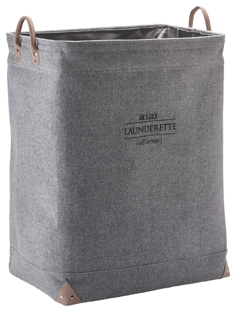 Lubin Hamper Laundry Basket With Carry Handles And Liner, Gray.