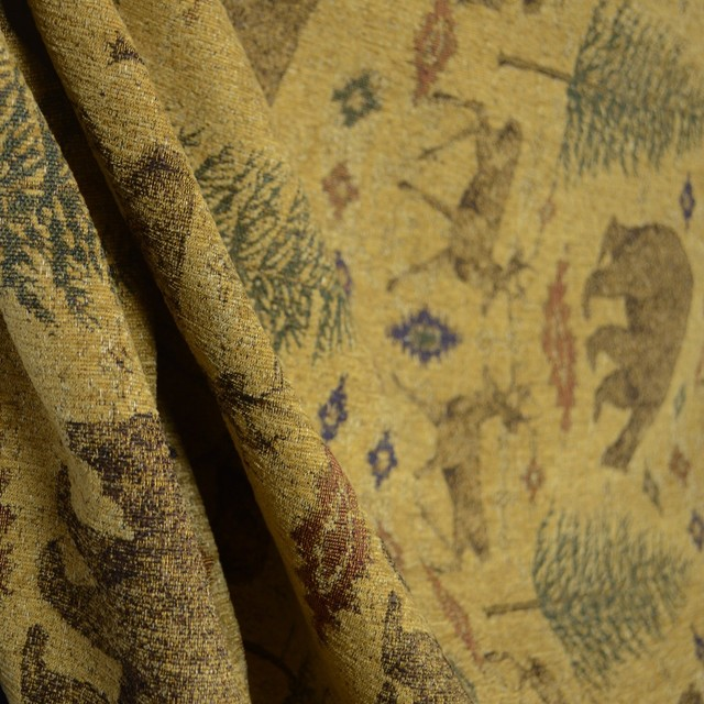 Ottawa Gold Lodge Bear Deer Pine Tree Chenille Upholstery Fabric