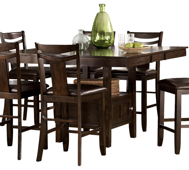 homelegance broome counter height table with storage base in dark brown