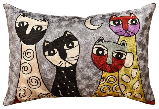 "Picasso Light Blue Four Cats Rectangle Pillow Cover Handmade, Art Silk 14x20""."