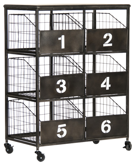 Neu Industrial Black Metal Numbered 6 Drawer Storage Cabinet Industrial  Storage Cabinets Design
