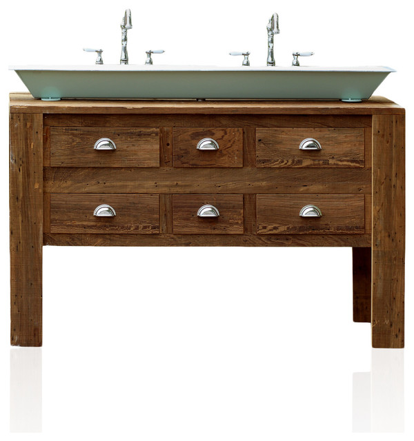 "Industrial Vanity: 60"" Industrial Trough Sink Reclaimed Barn Wood Kitchen"