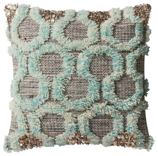 Justina Blakeney Aja Teal Accent Wall: Loloi X Justina Blakeney Polyfilled Pillow, Teal And Gray