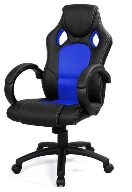 high back race car style bucket chair, blue - contemporary