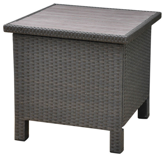 Barcelona Aluminum Resin Side Table Black Antique