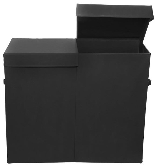 Smarty Pants Folding Double Laundry Basket, Black.