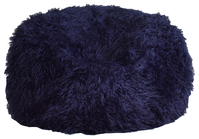 Remarkable Navy Fuzzy Nest Round Beanbag Ocoug Best Dining Table And Chair Ideas Images Ocougorg