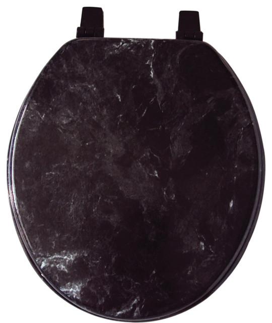 wooden black toilet seat. Marble Look Veneer Wood Toilet Seat  Standard Round Size Black traditional toilet