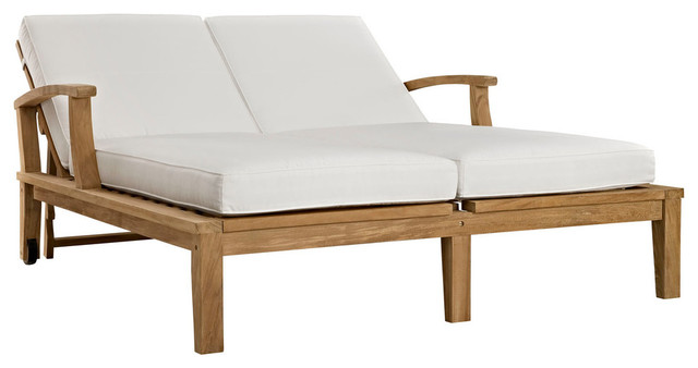 Marina Adjule Outdoor Patio Teak Double Chaise