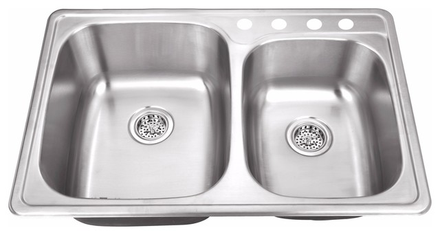 "Drop-In 33.12"" 60/40 Bowl 20-Gauge Stainless Steel Kitchen Sink."