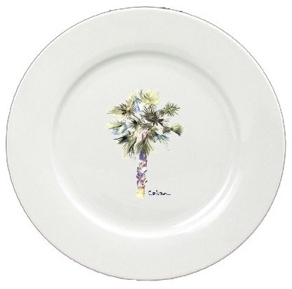 Palm Tree Ceramic Plate Round 11 Solid White 8481 Dpw Contemporary Dinner