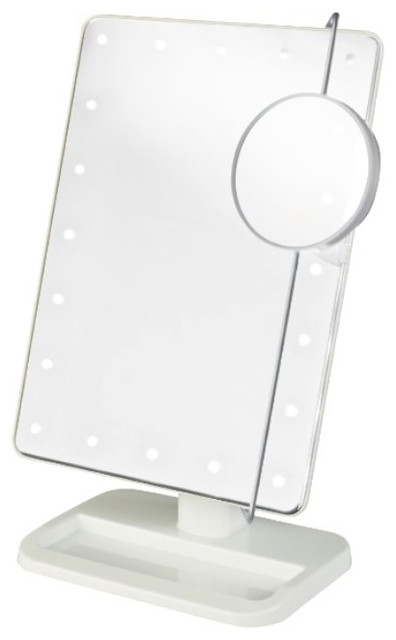 Jerdon Js811w 8-Inch Portable Led Lighted Adjustable Tabletop Makeup Mirror.