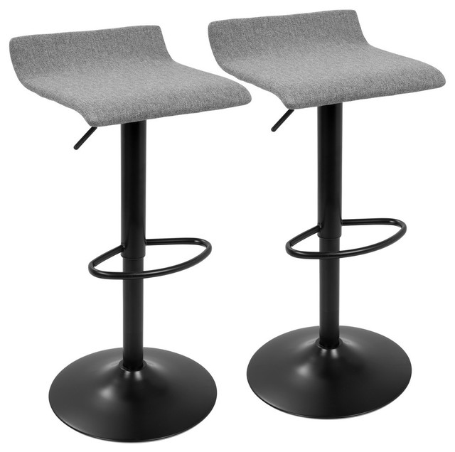 LumiSource Ale XL Adj. Barstool, Black and Gray, Set of 2
