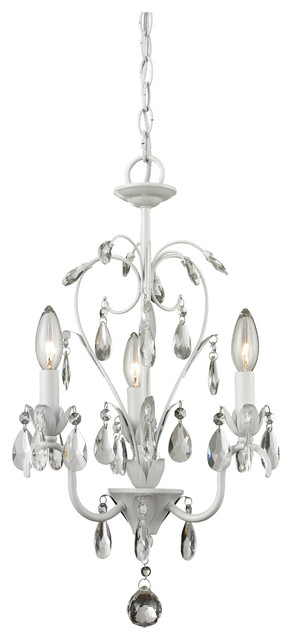 Princess Chandeliers 3-Light Chandelier Mini Crystal, Matte White