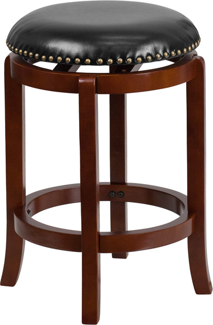 Stupendous 24 Inch High Backless Light Cherry Wood Counter Height Stool Gamerscity Chair Design For Home Gamerscityorg