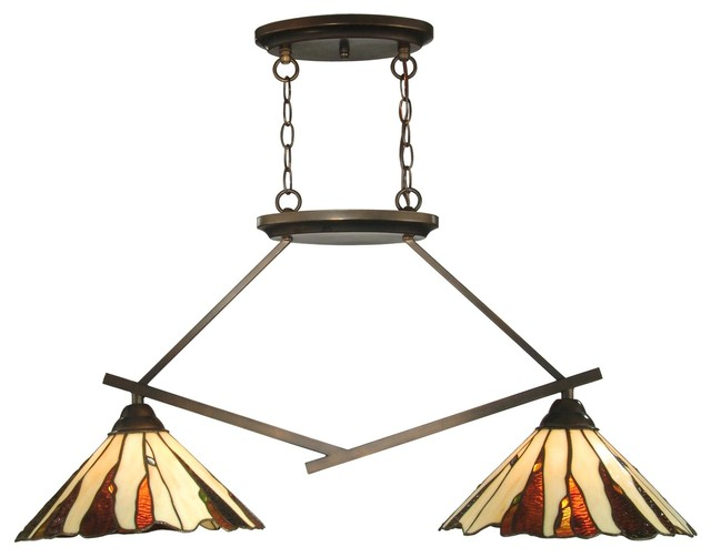 2 Light Standard Bulb Island Light Copper Bronze