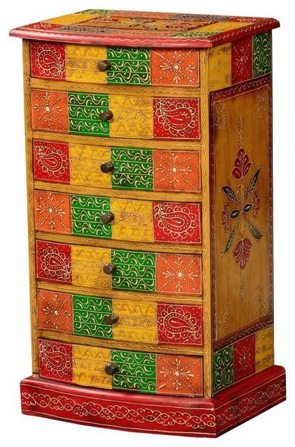 Akron Hand Painted Mango Wood 7-Drawer Tower Dresser.