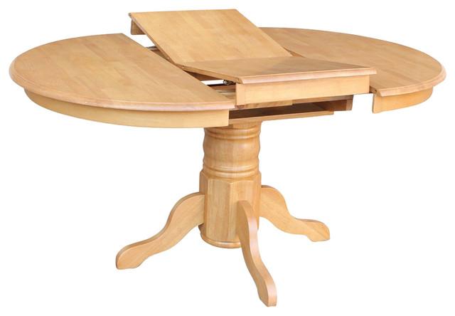 "Avon Single Pedestal Oval Table With 18"" Butterfly Leaf, Oak Finish"