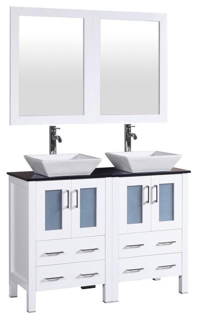 Bosconi Double Vanity, White, 48.