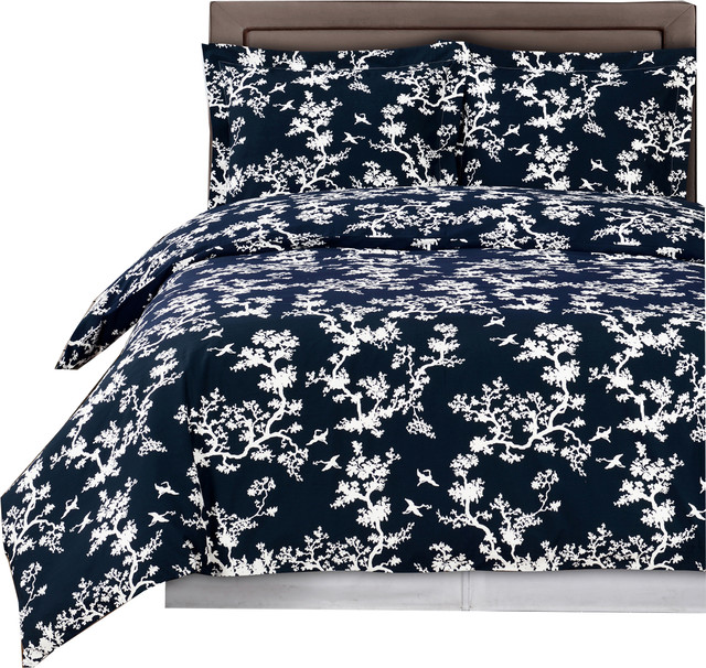 Lucy Printed Reversible 100 Cotton Duvet Cover Set Contemporary