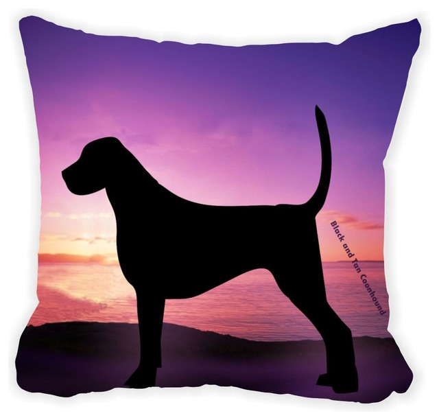 Black Microfiber Throw Pillows : Rikki Knight LLC - Black and Tan Coonhound Dog At Sunset Microfiber Throw Pillow - View in Your ...