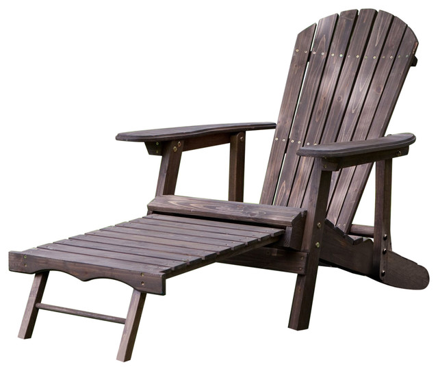 Dark Brown Wood Adirondack Chair With Built Retractable Ottoman