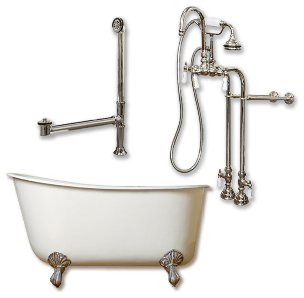 """Cast Iron Swedish Slipper Tub 58"""", Standing Faucet Shower Nickel Package."""