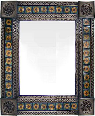 Medium Brown Sunflower Tile Talavera Tin Mirror.