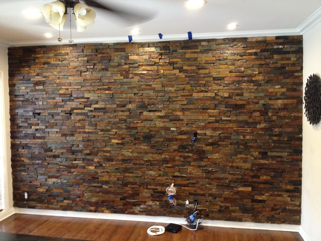 Interior Ledger Stone Wall Application