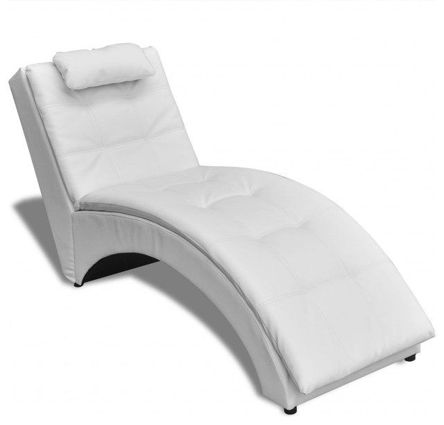 Vidaxl vidaxl chaise longue with pillow artificial for Black leather chaise longue