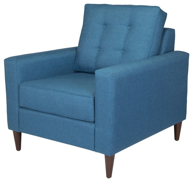 Surprising Modern Contemporary Armchair Accent Chair Blue Fabric Wood Caraccident5 Cool Chair Designs And Ideas Caraccident5Info