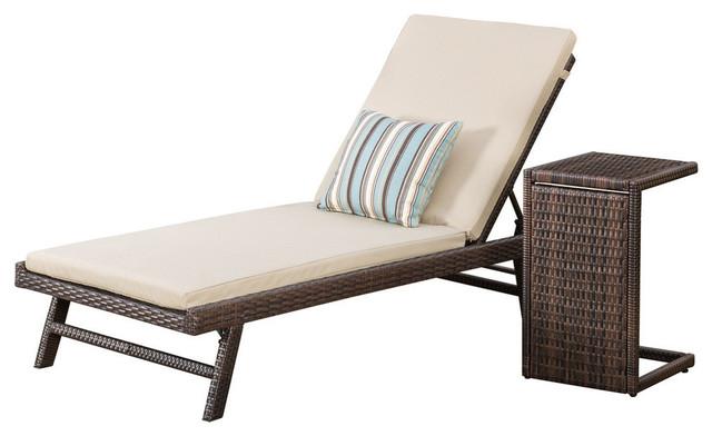 GDF Studio Wicker Chaise Lounge with Wicker Side Table