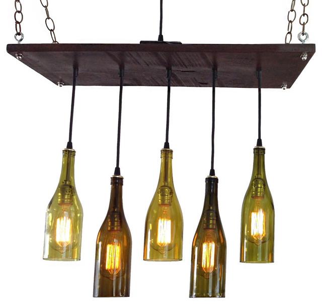 5 wine bottle chandelier eclectic chandeliers by industrial 5 wine bottle chandelier antique white base no bulbs suspended aloadofball Gallery