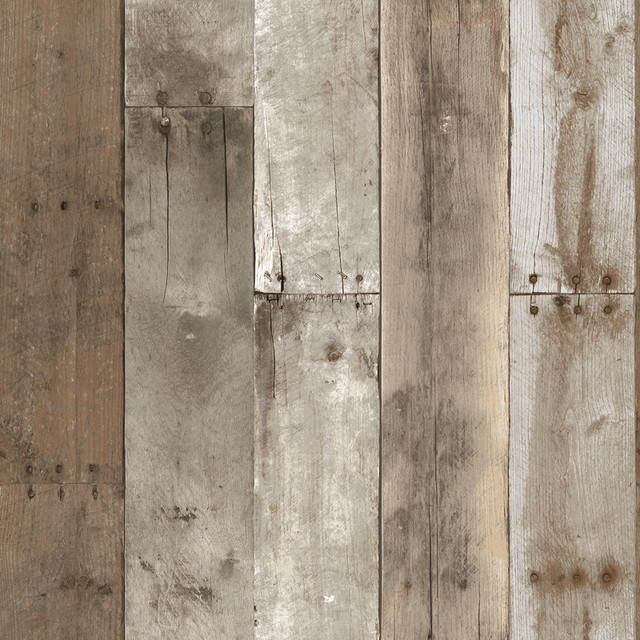 Reclaimed Wood Industrial Loft Weathered Removable Wallpaper industrial- wallpaper - Reclaimed Wood Industrial Loft Multi-Colored Removable Wallpaper