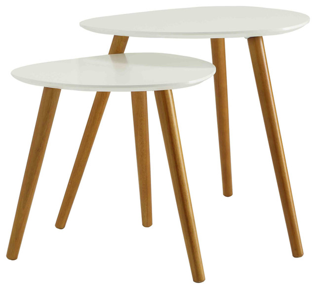 Oslo 2-Piece Nesting End Table Set White  sc 1 st  Houzz & Oslo 2-Piece Nesting End Table Set - Scandinavian - Side Tables And ...