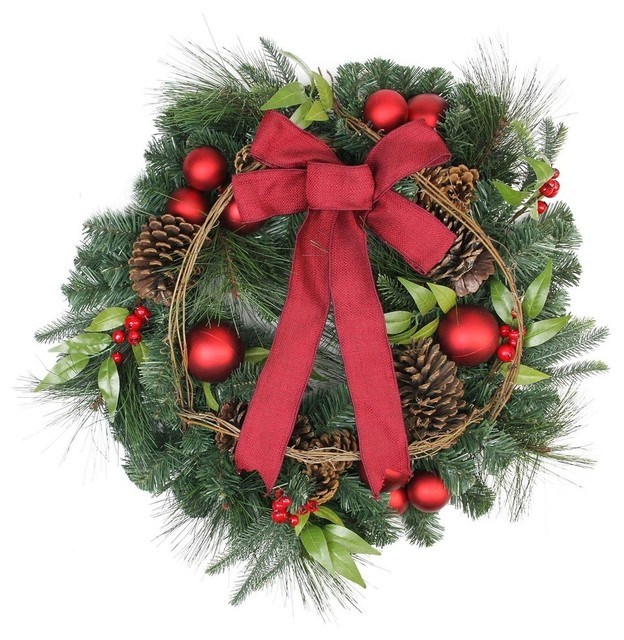 Pine, Red Ball Ornaments And Pine Cones Artificial Christmas Wreath, Unlit.