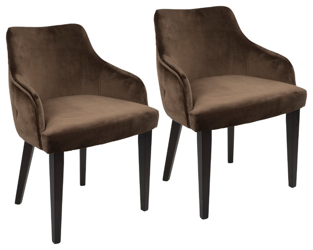 Lumisource Eliza Dining Chair, Espresso and Brown Velvet, Set of 2