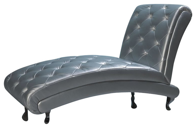 B6 chaise silver contemporary indoor chaise lounge for Black and silver chaise lounge