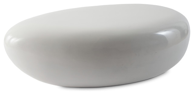 River Stone Cocktail Table Gel Coat White, Small