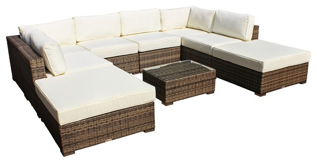 Outdoor Patio Furniture All Weather Wicker Sectional, 9 Piece Set  Contemporary Outdoor