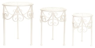 Plant Stands, Set Of 3, Ivory