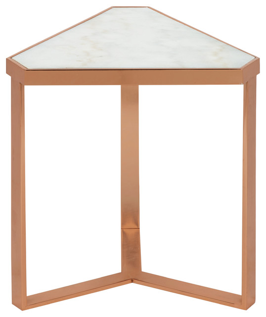 Kate And Laurel Vermeer Marble Triangle End Table, Rose Gold  Contemporary Side Tables