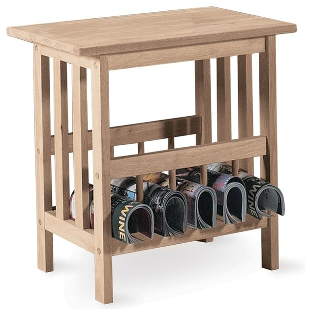 Mission Style End Table W Magazine Rack Contemporary Side Tables And End