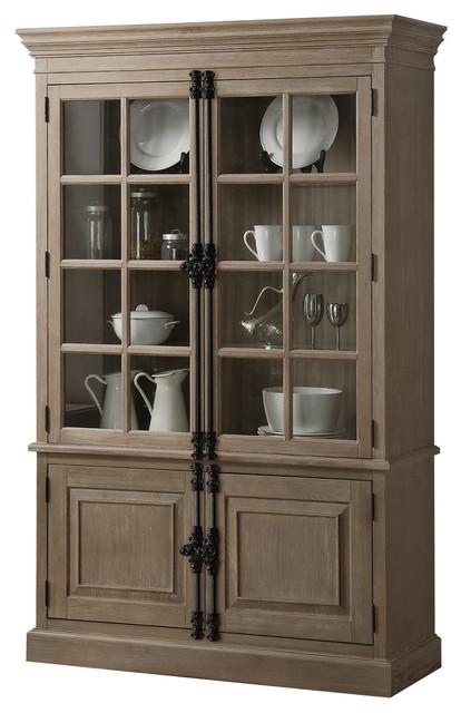 Acme Eleonore Curio Cabinet, Weathered Oak.